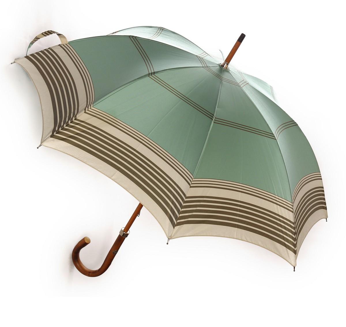 ◇ハンドメイド高級傘◇ Maglia Francesco(マリアフランチェスコ) レディース長傘  ライトグリーン×アイボリー×カーキボーダー 選べるハンドル MF87/MF88
