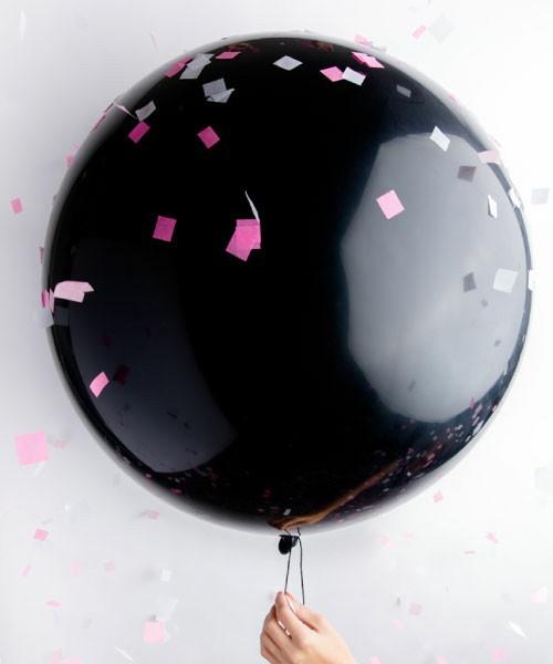 ジェンダーリヴィールバルーン/ブラック ウイズ ピンク