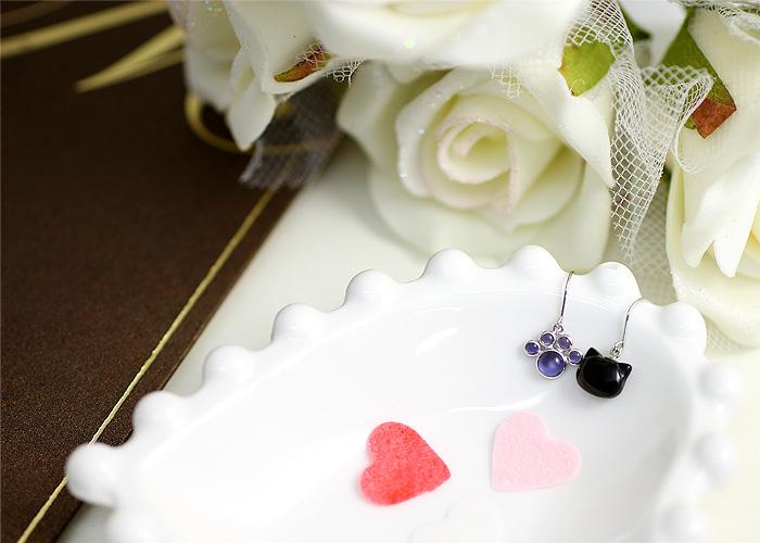 黒猫&肉球 フックピアス K10ホワイトゴールド(K10WG)