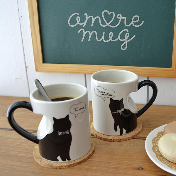 猫 ペアマグカップ デコレ