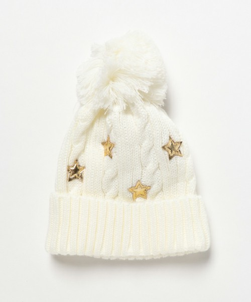 星柄&ビッグポンポン付きニット帽