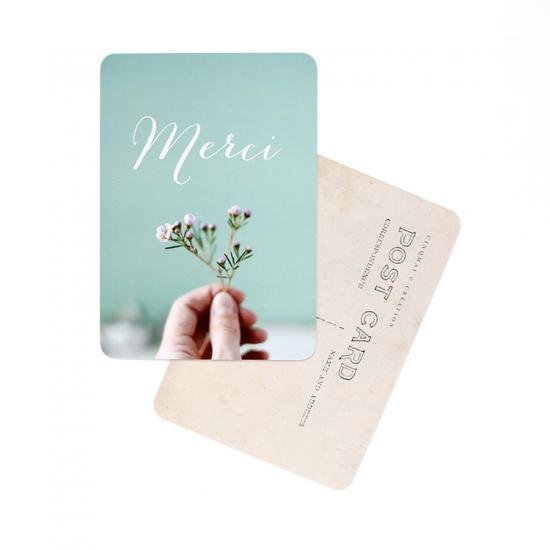 "Carte Postale ""MERCI / FLOWERS AND MINT""."