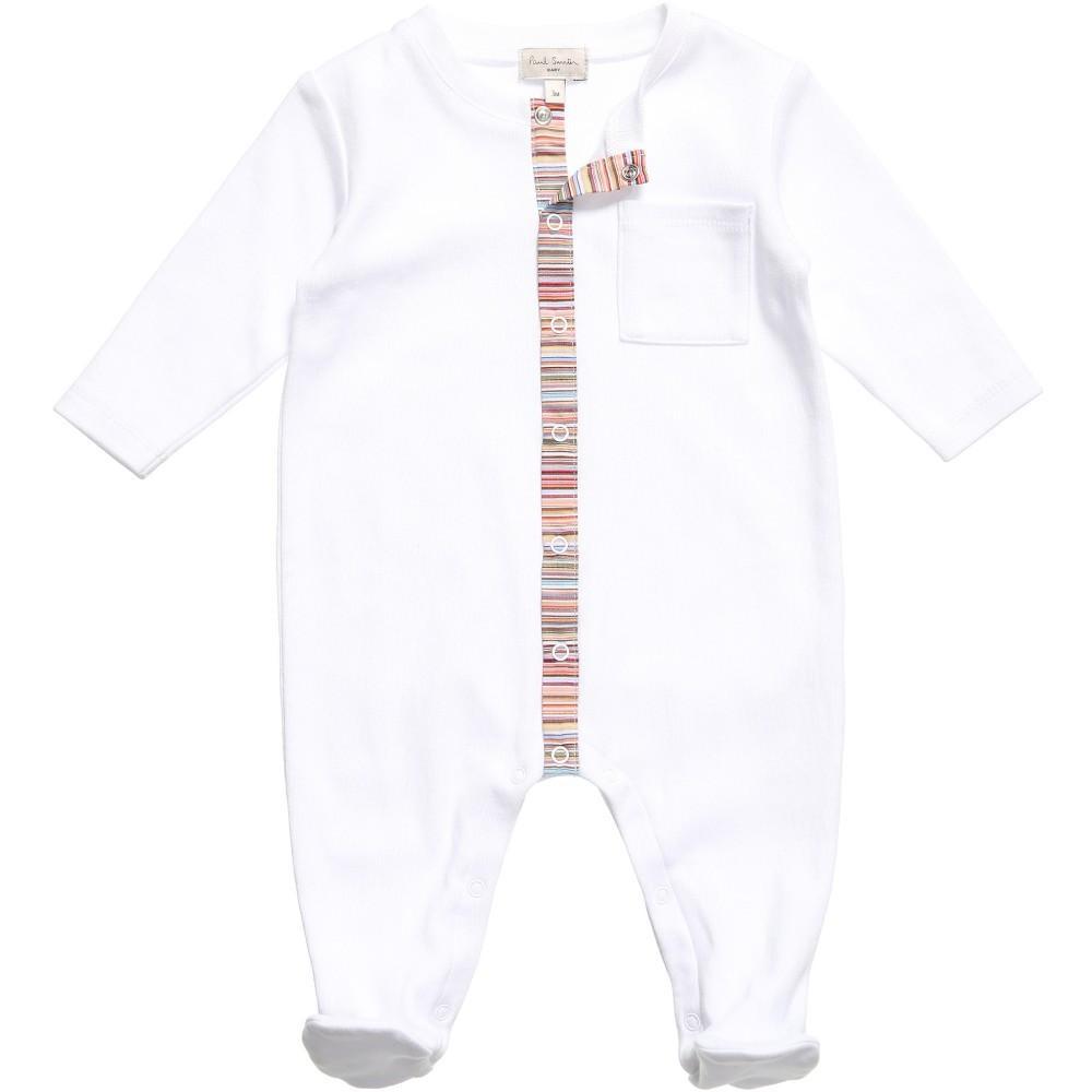 White Babygrow & Hat with Striped Trim Gift Set