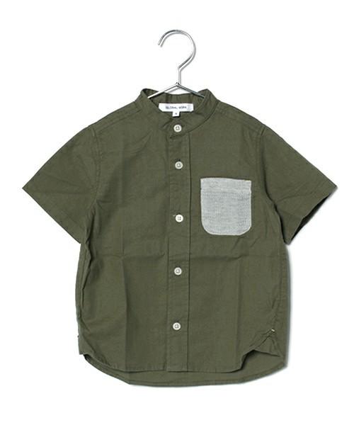 【キッズ】バンドカラーシャツ半袖