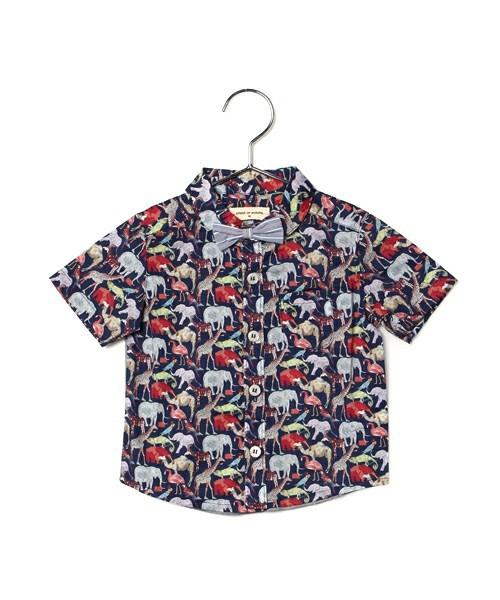 リバティプリントシャツ Queue for the zoo