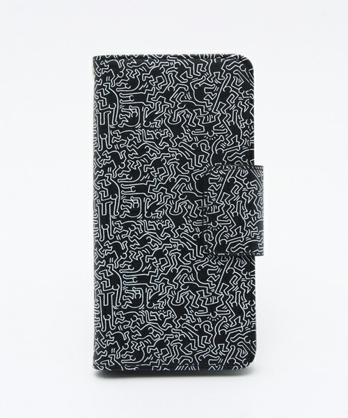 【GRAPHT】Keith Haring Collection Flip-Out Cover People/Black x White iPhone6/6S