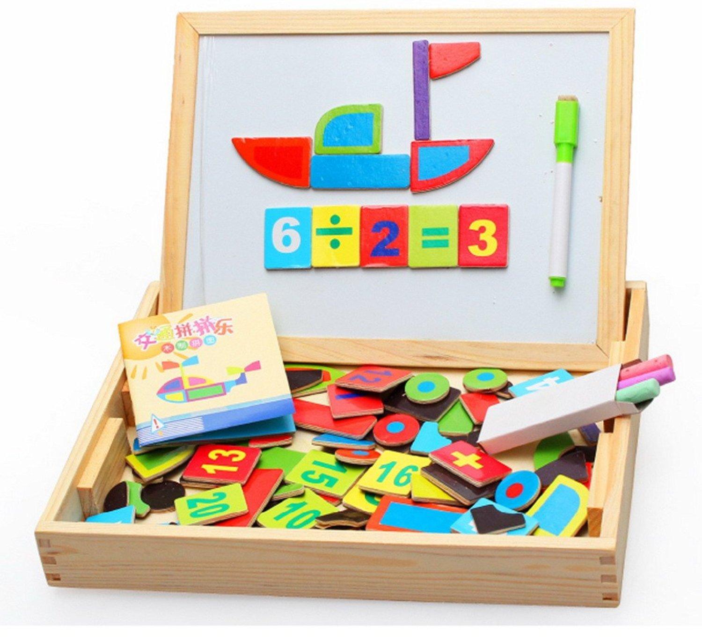 Happy Cherry 子供の知育玩具!木製 お絵かきボード 黒板 ホワイトボード 両面 ペン チョーク セット トラフィック の マグネット 付き