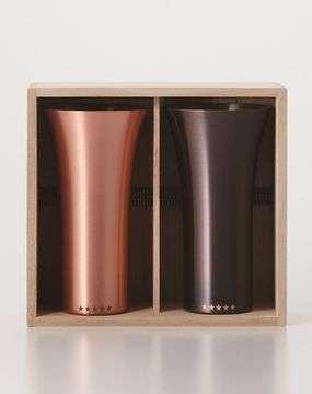 純銅製タンブラー2個セット マット&ブラウン